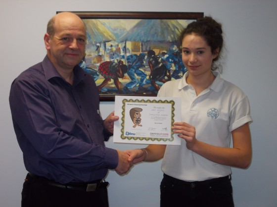 Mr Dyker presented Amy with her certificate